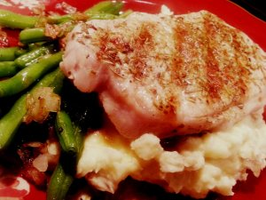 pork chops, green beans and mashed potatoes